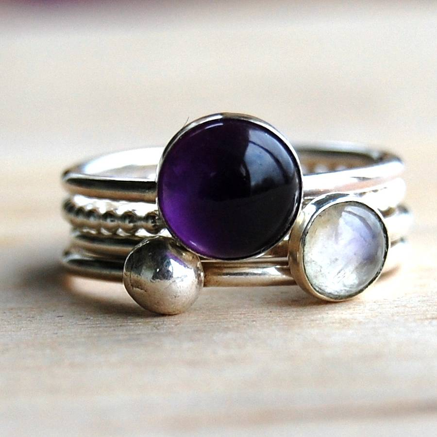 Handmade Amethyst And Moonstone Stacking Rings By Alison