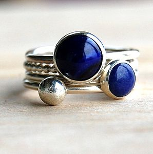 Ocean Lapis Lazuli Handmade Stacking Rings - women's jewellery