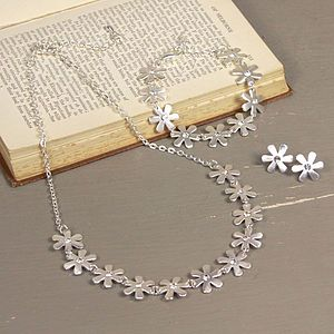 Silver Daisy And Gem Jewellery Set - jewellery sets