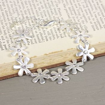 Silver Daisy And Gem Bracelet