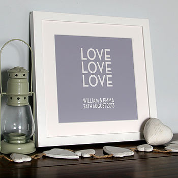 Personalised 'Love, Love, Love' Canvas Print