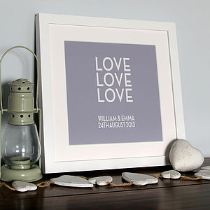 Personalised 'Love, Love, Love' Canvas Print - personalised wedding gifts