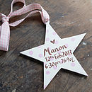 Personalised New Baby Girl Birth Date Star