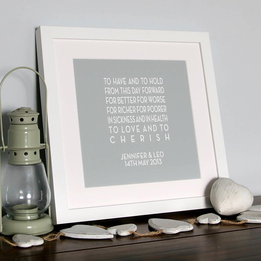 framed wedding vows gift