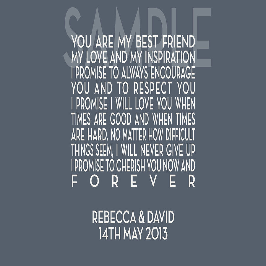 Wedding Vowes: Personalised Wedding Vows Canvas Print By Hopsack & Olive