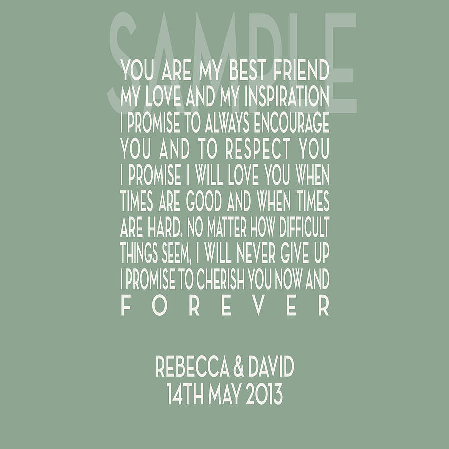Personalised Wedding Vows Canvas Print By Hopsack & Olive