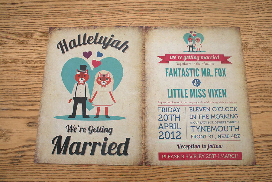 foxes themed retro wedding invitation by magik moments, Wedding invitations