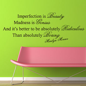 Imperfection Is Beauty Quote Wall Stickers