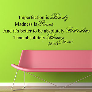 Imperfection Is Beauty Quote Wall Stickers - wall stickers