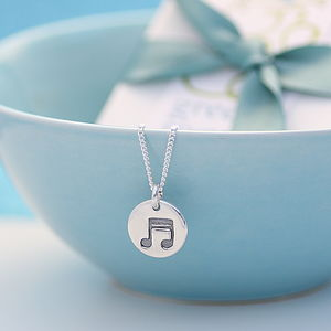 Musical Note Silver Necklace