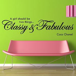'Classy And Fabulous' Wall Stickers - living room