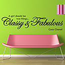 'Classy And Fabulous' Wall Stickers