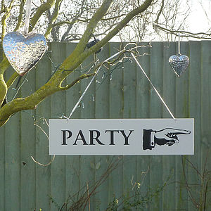 'Party' Directional Sign - garden sale