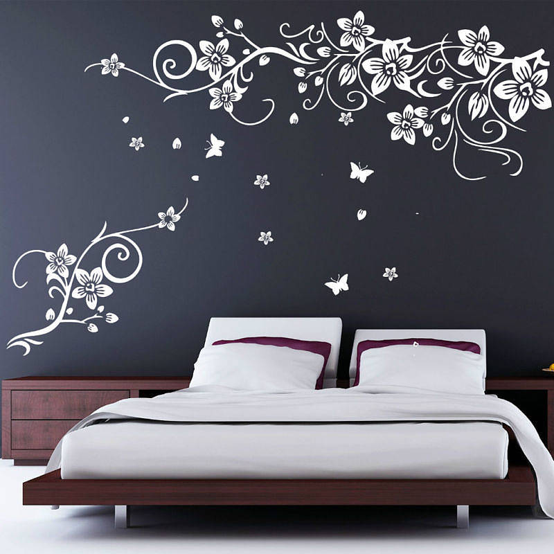 Captivating Flower And Butterfly Vine Wall Stickers