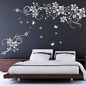 Flower And Butterfly Vine Wall Stickers - wall stickers