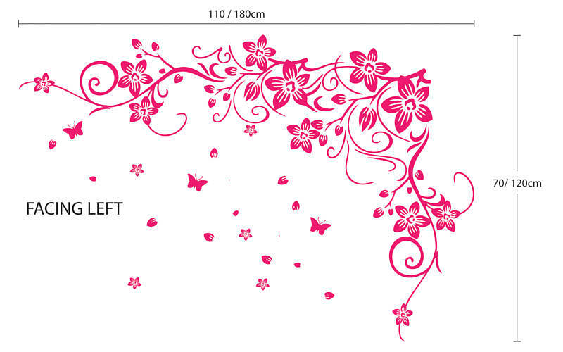 Flower And Butterfly Vine Wall Stickers By Parkins Interiors
