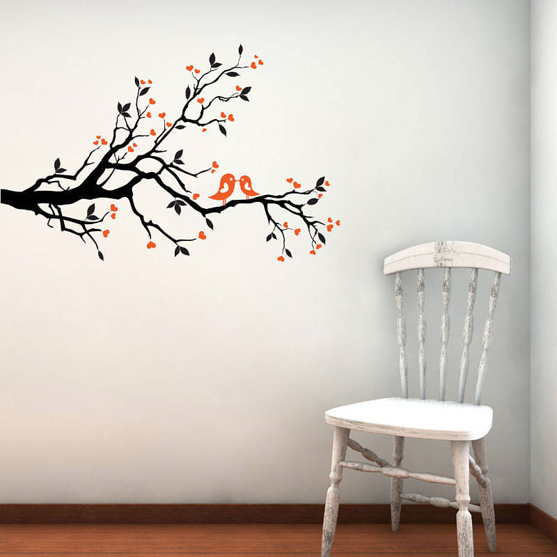 Love birds on blossom branch wall stickers by parkins for Bird wall mural