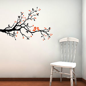 Love Birds On Blossom Branch Wall Stickers - wall stickers