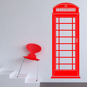 British Telephone Box Wall Sticker - wall stickers