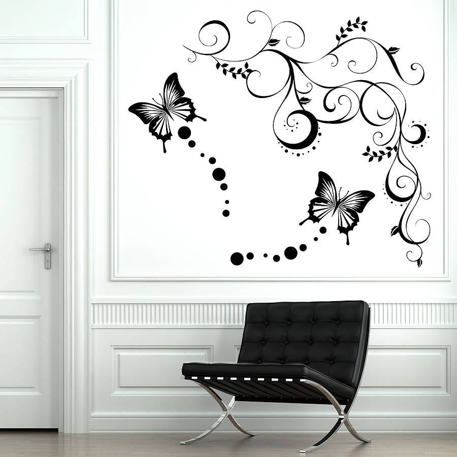 Butterfly vine wall stickers by parkins interiors for Butterfly wall mural stickers
