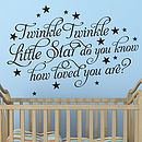 'Twinkle Twinkle Little Star' Wall Stickers