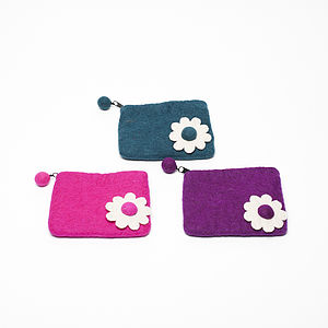 Handmade Felt Daisy Purse Purple/Green/Pink - purses