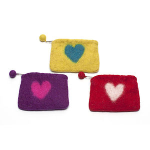 Handmade Felt Heart Purse Red/Green/Purple - women's accessories