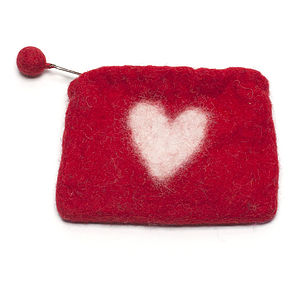 Handmade Felt Heart Purse Red/Green
