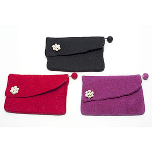 Handmade Felt Pearl Clutch Purse - women's accessories