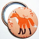Fox Fabric Pocket Mirror