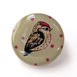Circular Spotty Bird Brooch