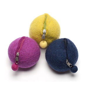 Handmade Felt Pom Pom Purse Pink/Navy/Green - purses & wallets