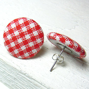 Gingham Fabric Covered Earrings