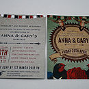 Vintage Birds Retro Wedding Invitation