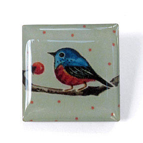 Spotty Square Birdy Brooch