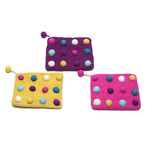 Handmade Felt Spotty Purse Pink/Green/Purple - purses & wallets
