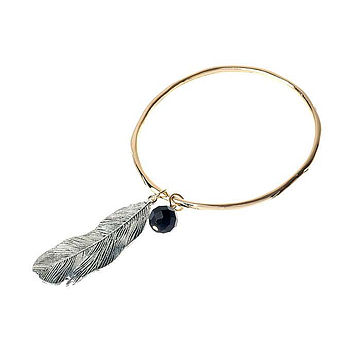 Feather Bead Gold Bangle