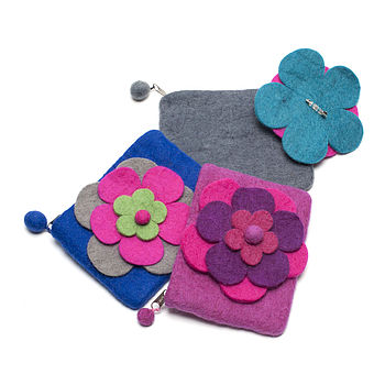 Handmade Felt Layered Flower Purse And Brooch