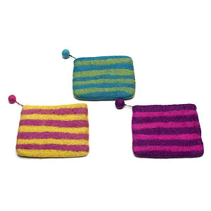 Handmade Felt Stripey Purse Pink/Purple/Teal - purses & wallets
