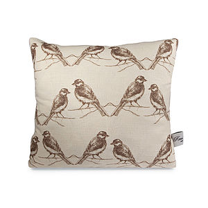Birds Linen Cushion - winter sale