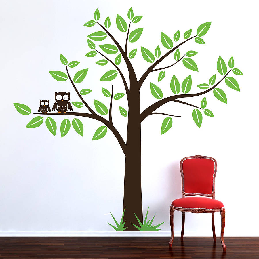 tree with owls wall sticker by parkins interiors notonthehighstreet