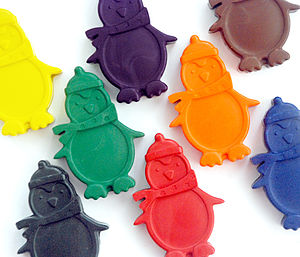 Set Of Eight Penguin Crayons - stocking fillers