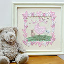 Embroidered Personalised New Baby Artwork