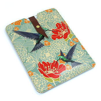 Leather Hummingbird Case For iPad