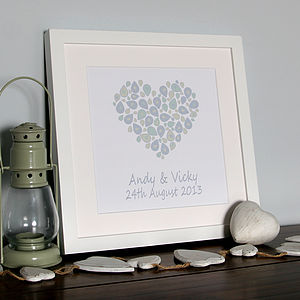 Personalised Wedding Heart Canvas Print - engagement gifts
