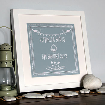 Folk Art Personalised Anniversary Print