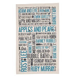 Cockney Rhyming Slang Tea Towel - kitchen