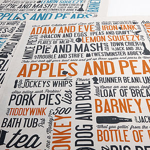 Cockney Rhyming Slang Tea Towels - kitchen linen