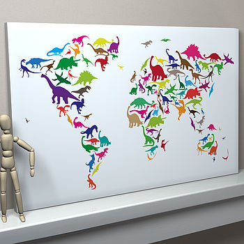 Multi-coloured on White Background Dinosaur World Map