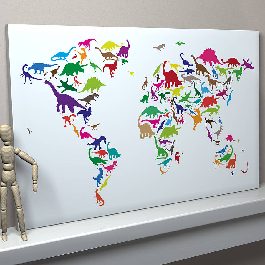 Dinosaur world map art print by artpause notonthehighstreet multi coloured on white background dinosaur world map gumiabroncs Images